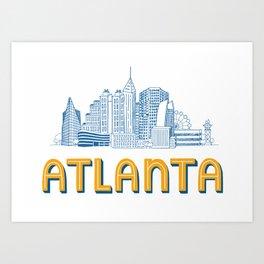 Atlanta Skyline Illustration Art Print