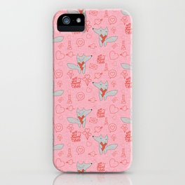 Fox in love pink Hearts iPhone Case