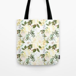 Modern yellow ivory green hand painted roses floral Tote Bag