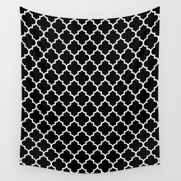 White Moroccan Quatrefoil On Darkest Black Wall Tapestry
