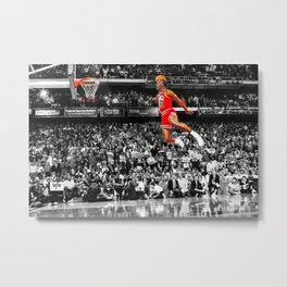 Infamous Jumpman Free Throw Line Dunk Poster Wall Art, MichaelJordan Poster Metal Print