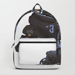 Scifi helmet girl cyborg Backpack
