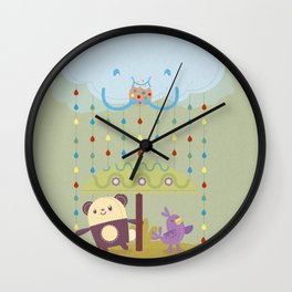 color raindrops keep falling on my head Wall Clock