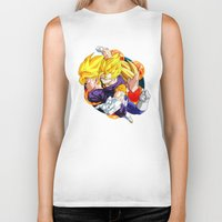 dbz Biker Tanks featuring DBZ - Goku, Vegeta and Vegeto by Mr. Stonebanks