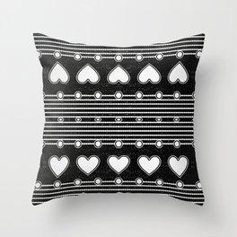Black and white Heart Stripe Pattern Throw Pillow