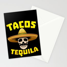 Tacos And Tequila Funny Drinking Mexican Food graphic Stationery Cards