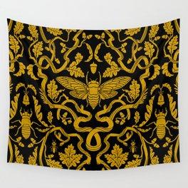 Cicada Oak Damask Wall Tapestry