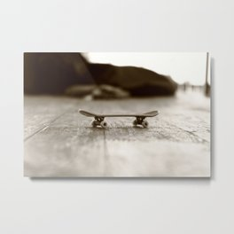 Finger Skateboard Metal Print