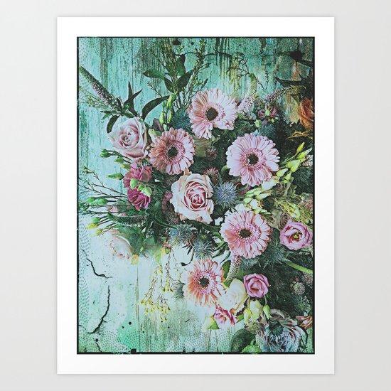 Shabby Pastel Floral Still Life Art Print