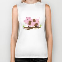 pig Biker Tanks featuring Pig by Claire Lordon