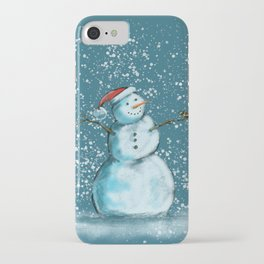 Frosty snowman and his little bird iPhone Case