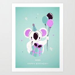 Happy Birthday Koala Art Print