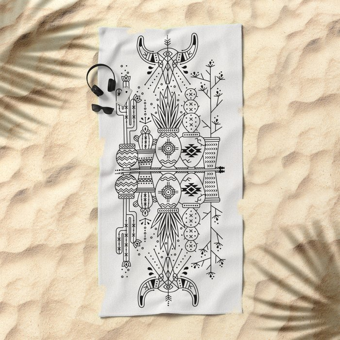 Santa Fe Garden – Black Ink Beach Towel