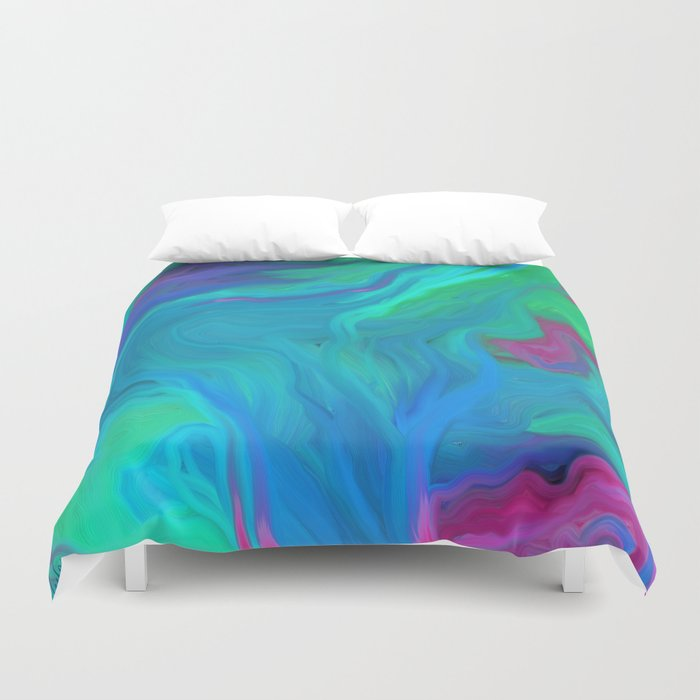 AGATE BLUE ABSTRACT OIL PAINTING Duvet Cover
