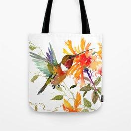 Hummingbird and Orange Floral Design Tote Bag