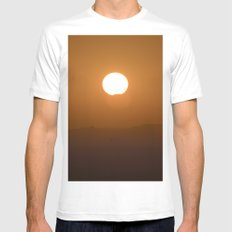 Partial solar eclipse through the mountains White Mens Fitted Tee MEDIUM