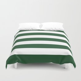 Cal Poly Pomona green - solid color - white stripes pattern Duvet Cover