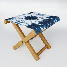 Velvet Shibori Blue Folding Stool
