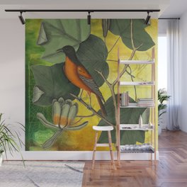 Baltimore Oriole on Tulip Tree, Vintage Natural History and Botanical Wall Mural
