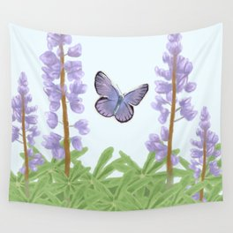 Karner Blue - The Endangered, with Wild Lupine Wall Tapestry