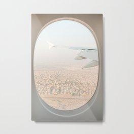 Pastel Plane Window View Photo | Summer Holiday Dubai Air Art Print | Adventure Travel Photography Metal Print