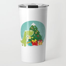 Dino Christmas Tree Dinosaur Animal Thanksgiving Santa Reindeers Xmas Presents Gift Travel Mug