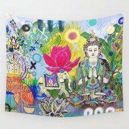 Green Tara in Paradise Wall Tapestry