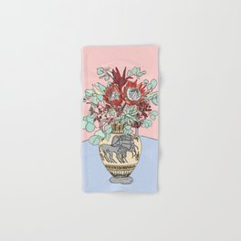 Greek Urn with Horses and Protea Bouquet Hand & Bath Towel