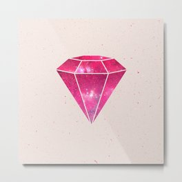 Trendy Pink Diamond Girly Purple Nebula Galaxy Metal Print