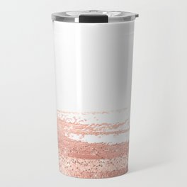 Rosegold brush strokes on white Travel Mug