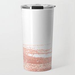 Rosegold brush strokes on white Travel Mug