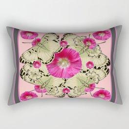 GREY & PINK HOLLYHOCK FLORAL BUTTERFLY PATTERN Rectangular Pillow