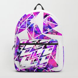Girly Pink Violet and White Fragmented Geometric Backpack