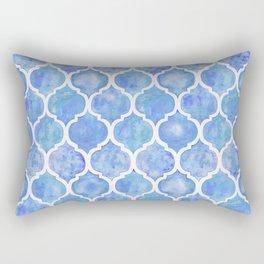 Cornflower Blue Moroccan Hand Painted Watercolor Pattern Rectangular Pillow