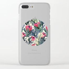 Painted Protea Pattern Clear iPhone Case