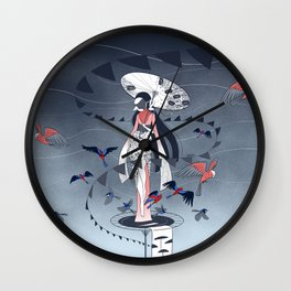 Kimono Birds Wall Clock