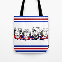 power rangers Tote Bags featuring Rangers by Kana Aiysoublood