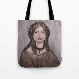 Watercolor Portrait of a Victorian Woman Wearing a Cross Necklace Tote Bag