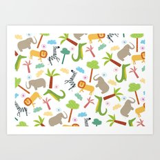 A HAPPY DAY  IN JUNGLE Art Print