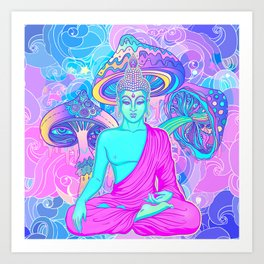 Sitting Buddha among psychedelic Mushrooms Art Print