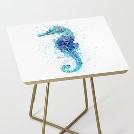 Blue Turquoise Watercolor Seahorse Side Table