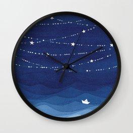 night sky, ocean painting Wall Clock