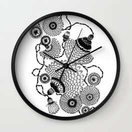 Daisies and Lines - 1 Wall Clock