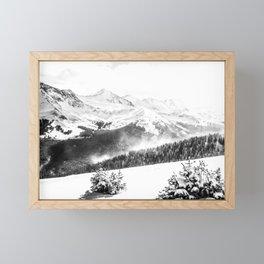 Fresh Snow Dust // Black and White Powder Day on the Mountain Framed Mini Art Print