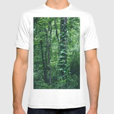A Tree Grows in the Woods MEDIUM White Mens Fitted Tee