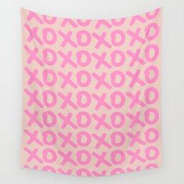 XOXO Print Peach And Pink Hugs And Kisses Minimalistic Wall Art XOXO Pattern Preppy Modern Decor Wall Tapestry