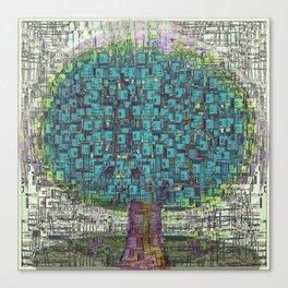 Tree Town - Magical Retro Futuristic Landscape Canvas Print