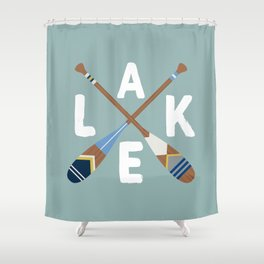 LAKE LIFE Painted Paddle Oars Shower Curtain