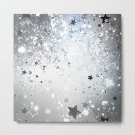 Silver Background with Stars Metal Print