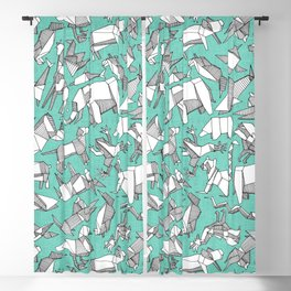 origami animal ditsy mint Blackout Curtain